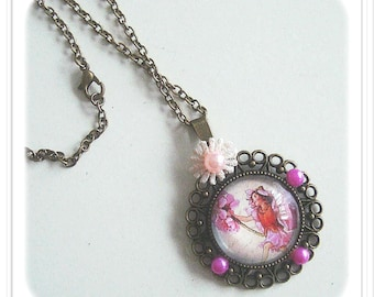 """"" Cabochon pendant with Bronze Metal on the Theme: ""fairy"""