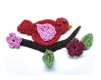 crochet on a branch bird