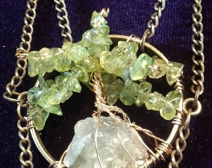 Powerful green 3D Tree Of Life gemstone necklace  - witch pagan treeoflife occult power