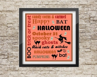 Halloween cross stitch pattern Poster Halloween gift for child Halloween Wall Decor Child gift easy pdf pattern printable dad gift idea