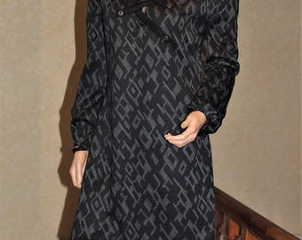 Mandarin collar winter dress long sleeve 100% made in France