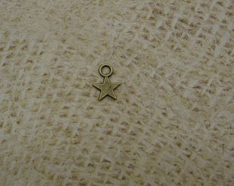 10 charms star small bronze 10mm