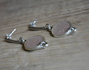 Taupe earrings - Taupe brown earrings - Cabochon earrings - Silver earrings