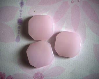 3 beads AGATE octagonal, 19x20x5mm, pink