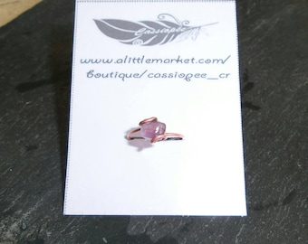 ring in copper and Amethyst cut and polished rectangular 7 (Lavender)