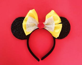 Belle Mickey Ears Beauty and the Beast Disney Inspired Minnie Headband