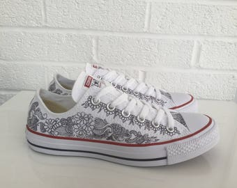 Custom Converse® or Unbranded Low Top Henna Tattoo Graffiti Hand Painted Trainers
