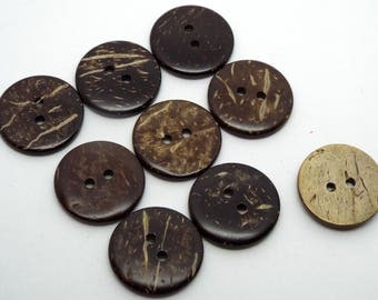 8x Large Round Coconut 2 Hole Buttons 20mm Brown Buttons Natural Buttons