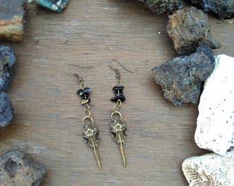 Mask Venetian/skull vulture and onyx earrings