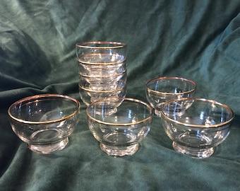 Vintage Gold Rimmed Fruit and Desert Cups (Set of 8)