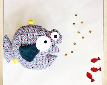 Petit poisson, doudou, peluche, hochet, rattle, little fish
