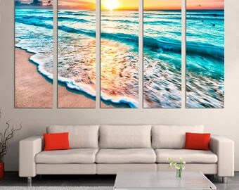 Seascape Beautiful sunset sand sea Beach Canvas Prints Ocean painting Travel gift 5 panel wall art fine art print home decor - Ready to hang