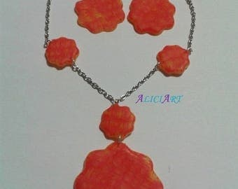 Necklace - Red and yellow flower earrings