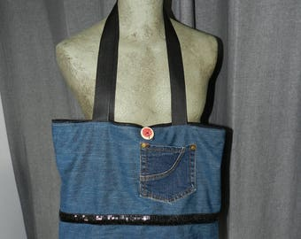 spirit upcycled jeans tote bag