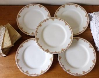 Théodore Haviland : ensemble de 5 assiettes en porcelaine de Limoges, début du XXème siècle / Vaissellee antique