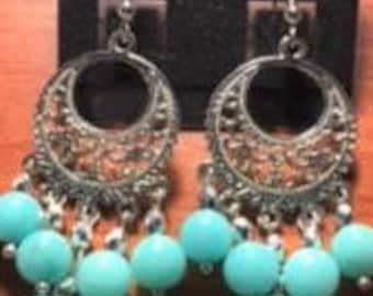 Aqua Stone Chandelier Beads on Silver