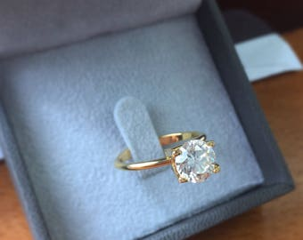 1.70 Carat Solitaire Diamond Ring,Solitaire Ring, Round Diamond, Diamond Ring, 14k Yellow Gold Ring, Diamond Engagement Ring, Free Shipping