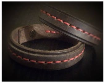 Couples Leather Bracelets. Red string of fate gift,  gift,  Distance jewelry. Friendship bracelet. Set of two bracelets, brown leather.