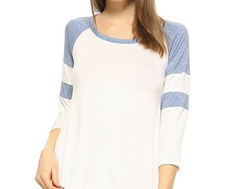 Vaneul Studio's Contrast Round Neck 3/4 Sleeve Top With Curved Hem