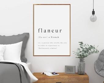 Flaneur Frans citeer Print moderne afdrukbare typografie Art Poster inspirerende Frankrijk Parijs verkennen Wall Art Home Decor reizen Artwork