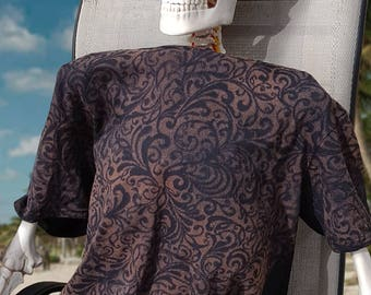 Men's Baroque Filigree Bleach Patterned Tee - 100% Ringspun Cotton - Hand Bleached