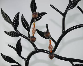 African EARRINGS - wooden beads, glass bead and acrylic