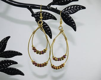 Hoop double gold and iridescent beads gold plated setting