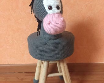 Child chair with horse toy plush handmade hooked