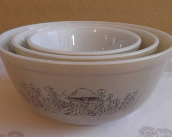 Pyrex Forest Fancies Mixing Bowl Set; #401, #402, and #403