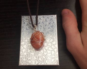 Red Jasper Wire-Wrapped Pendant (Oval)