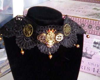 Steampunk mechanical Bee lace choker.