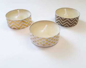 Washi Tea Lights, Washi Candles, Candle Set, Gift for her, Decorated Tea Lights, Gift Candles,Party Candles,Golden Candles, Washi, Mint,Gold