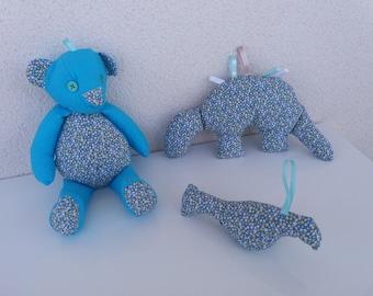Box blue birthstone 3 pieces: bear, bird and Dinosaur. Birthstone gift idea. Gift for baby.