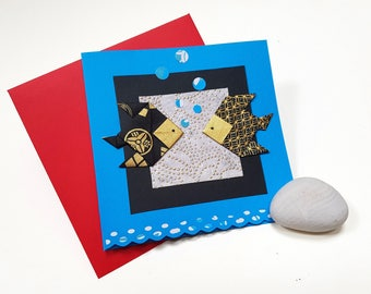 card with envelope origami fish