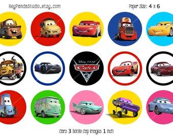 Disney Cars 3 Printable Bottle Cap Images - 1 inch- Cars Printable Bottlecap - Disney Cars Party Prints / Supplies