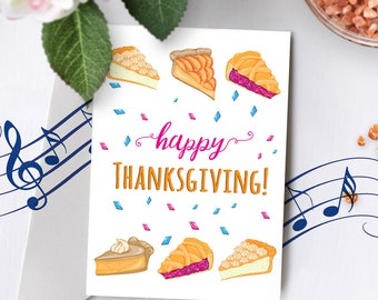 Thanksgiving Card With Music | Thanksgiving Pie Card, Thanksgiving Pumpkin Card, Pie Thanksgiving, Cute Thanksgiving Card 00008