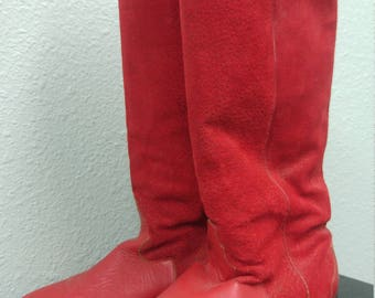 Vintage Red Knee High Leather Boots