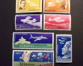 Romania Airmail  Postage Stamp Set 1960** 50th Anniv. First Flight Vlaicu(1882-1913) Complete Set* Scott # C79-85*MNH