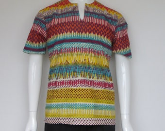 split shirt short sleeve cotton, ethnic striped pattern