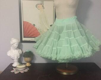Vintage Mint Julep Crinoline Petticoat - Layers of Seafoam Green Frothiness!