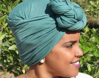 Green Wide African Head Scarf For Women Green Wide African Head Wrap African Head Scarves African Head Wrap Long Stretchy African Headwrap