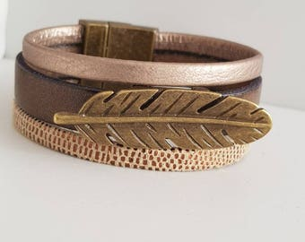 Feather cuff leather from taupe/bronze tone magnetic clasp bracelet