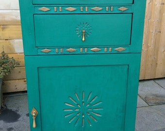 hand painted upcycled cupboard cabinet turquoise / teal and copper solid wood