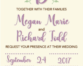 Leaves Wedding Invitation with Initial, Customizable, Digital or Printable