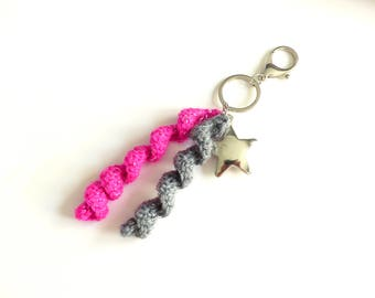 Keychain is hand crocheted pink and gray, Silver Star