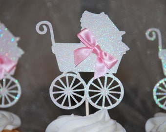 Baby carriage cupcake toppers