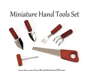 Miniature Hand Tools Set, Dollhouse, Miniatures, Small Scale
