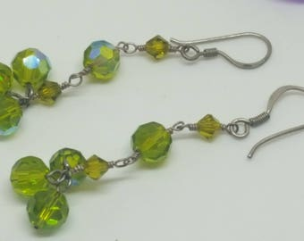 Handcrafted Lime Green Beaded Dangle Prism Earrings with 925 Silver Fishhooks