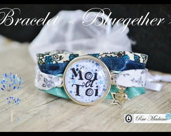Fabric blue bracelet and Locket - you and me