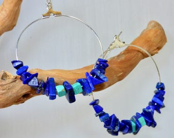 Hoop lapis lazuli and turquoise